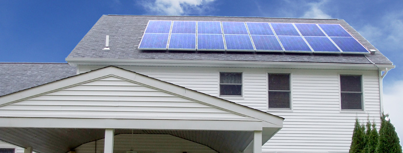 Example of a solar panel installment which shows how it is mounted on top of a roof