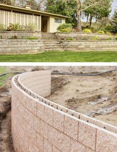 Example brick retaining wall built to enhance the look of your landscaping