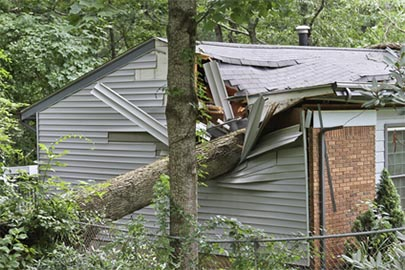 Storm damage repair on home.