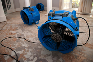 Industrial fans drying a room during water damage restoration in Peoria IL