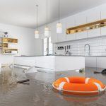 A kitchen submerged in water, taking severe water damage in Peoria IL